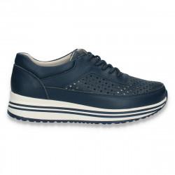 Sneakers casual dama, din piele, cu perforatii, bleumarin - W409