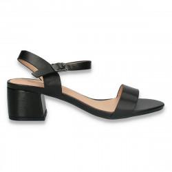 Sandale elegante, cu toc mic, negre - W410