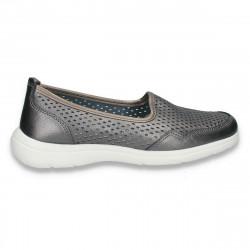 Pantofi dama din piele, cu perforatii, gri - W411