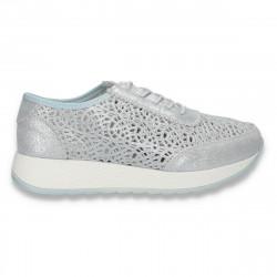 Sneakers casual dama, din piele, cu decupaje abstracte, albastru deschis - W412