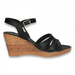 Sandale usoare pentru femei, cu platforma, negre - W413