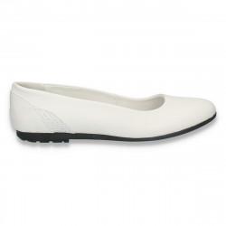 Balerini simpli din piele, pentru dama, albi - W416