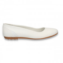 Balerini simpli din piele, pentru dama, albi - W417