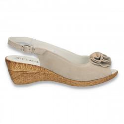 Sandale usoare din piele intoarsa, pentru femei, gri - W418