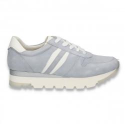 Sneakers din piele intoarsa, pentru femei, albastru deschis - W422