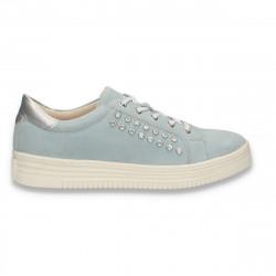 Sneakers casual din piele intoarsa, pentru femei, albastru deschis - W423