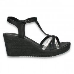 Sandale usoare din piele, pentru femei, negru-argintiu - W424
