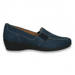 Pantofi dama din piele nubuc, cu decupaje, bleumarin - W425