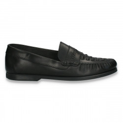 Pantofi clasici pentru barbati, in stil mocasini, negri - W426