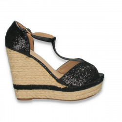 Sandale cu platforma din sfoara, cu glitter, negre - W436