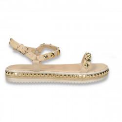 Sandale casual dama, bej-auriu - W438