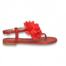 Sandale infradito, rosii, cu floare - W439