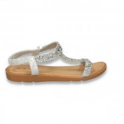 Sandale dama, cu talpa joasa, argintii - W440