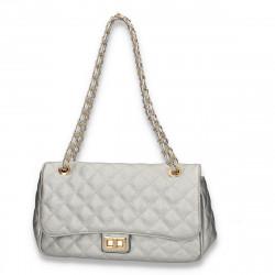 Poseta dama fashion, matlasata, argintie - M248