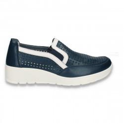 Pantofi din piele pentru dama, cu perforatii, bleumarin - W445