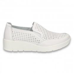 Pantofi din piele pentru dama, cu perforatii, albi - W446