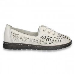 Pantofi din piele pentru dama, cu siret si decupaje, albi - W447