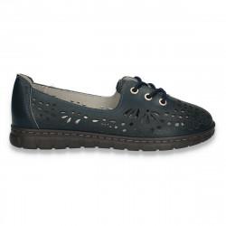 Pantofi din piele pentru dama, cu siret si decupaje, albi - W448