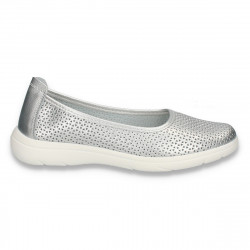 Pantofi dama din piele, cu perforatii, argintii - W449