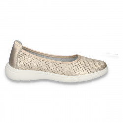 Pantofi dama din piele, cu perforatii, aurii - W450