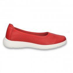 Pantofi dama din piele, cu perforatii, rosii - W451