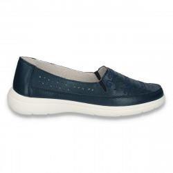 Pantofi dama din piele, pentru vara, bleumarin - W452