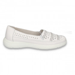 Pantofi dama din piele, pentru vara, albi - W453