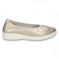 Pantofi flexibili, pentru dama, din piele, aurii - W454