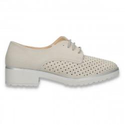 Pantofi femei, cu siret, perforatii si strasuri, gri - W457
