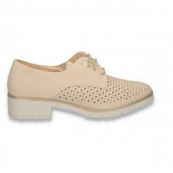 Pantofi femei, cu siret, perforatii si strasuri, bej - W458