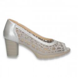 Pantofi eleganti cu decupaje geometrice si toc gros, gri - W459