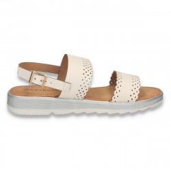 Sandale casual dama, albe - W463