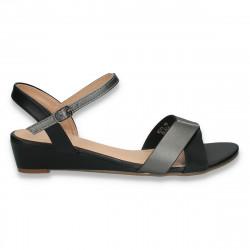 Sandale casual dama, negru-gri - W464