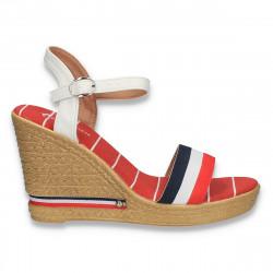 Sandale casual, din material textil, alb-rosu-bleumarin - W466