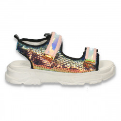 Sandale glami pentru fete, cu paiete, roz - W470