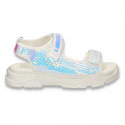 Sandale glami pentru fete, cu paiete, albe - W471