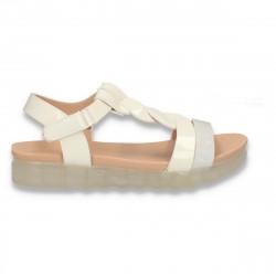 Sandale din lac pentru fetite, albe - W472