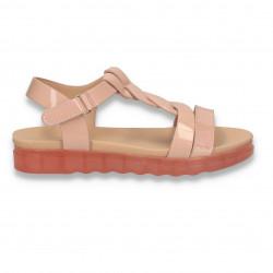Sandale din lac pentru fetite, roz - W473