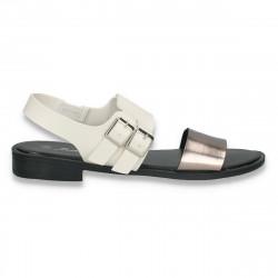 Sandale moderne pentru dama, cu talpa joasa, alb-argintiu - W474