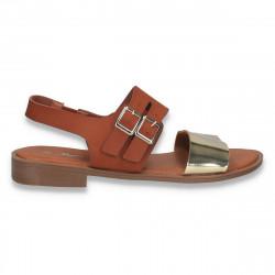 Sandale moderne pentru dama, cu talpa joasa, maro-auriu - W475