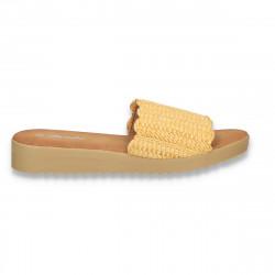 Papuci dama, impletiti, galben - W480