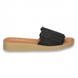 Papuci dama, impletiti, negri - W481