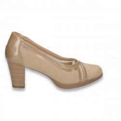 Pantofi eleganti cu plasa si strasuri, bej - W485
