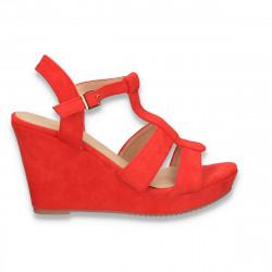 Sandale dama cu platforma, rosii - W487