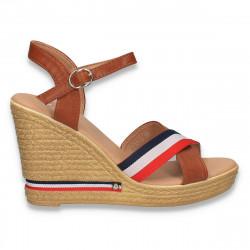 Sandale casual, cu platforma, maro-rosu-bleumarin - W492