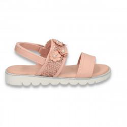 Sandale cu floricele pentru fetite, roz - W494