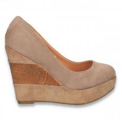 Pantofi femei cu platforma, taupe - LS593