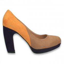 Pantofi in 3 culori, cu toc gros, pentru dama - LS599