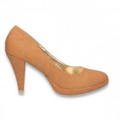 Pantofi femei, din material textil, camel - LS603