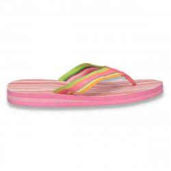 Slapi de plaja pentru dama cu dungi, roz - LS609